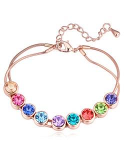 Shining Austrian Crystal Embellished Graceful Gold Plated Bracelet - Multicolor