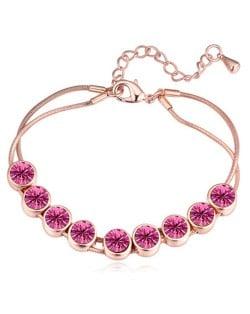 Shining Austrian Crystal Embellished Graceful Gold Plated Bracelet - Rose