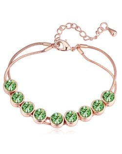Shining Austrian Crystal Embellished Graceful Gold Plated Bracelet - Olive