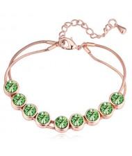 Shining Austrian Crystal Embellished Graceful Gold Plated Bracelet - Olive