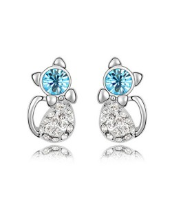 Austrian Crystal Inlaid Cute Cat Design Fashion Earrings - Aquamarine