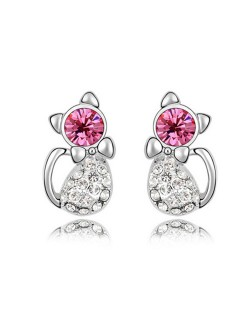 Austrian Crystal Inlaid Cute Cat Design Fashion Earrings - Rose