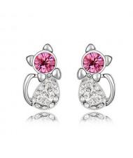 Austrian Crystal Inlaid Cute Cat Design Fashion Earrings - Rose