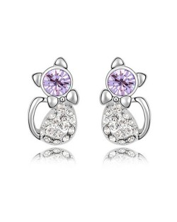 Austrian Crystal Inlaid Cute Cat Design Fashion Earrings - Violet