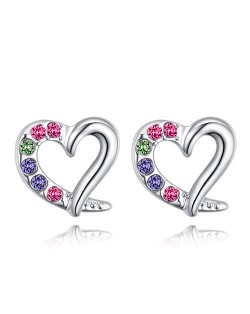Austrian Crystal Embellished Cute Hearts Design Platinum Plated Stud Earrings - Multicolor