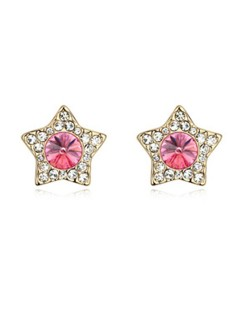 Shining Stars High Fashion Austrian Crystal Stud Earrings - Rose