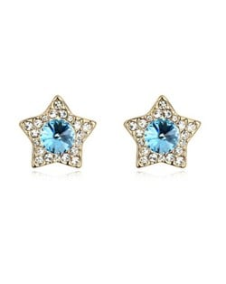 Shining Stars High Fashion Austrian Crystal Stud Earrings - Aquamarine