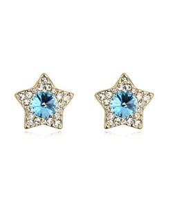 Shining Stars High Fashion Austrian Crystal Stud Earrings - Aquamarine