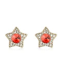 Shining Stars High Fashion Austrian Crystal Stud Earrings - Red
