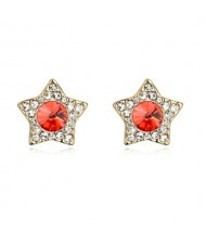 Shining Stars High Fashion Austrian Crystal Stud Earrings - Red