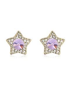 Shining Stars High Fashion Austrian Crystal Stud Earrings - Violet