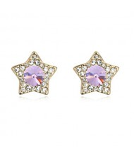 Shining Stars High Fashion Austrian Crystal Stud Earrings - Violet