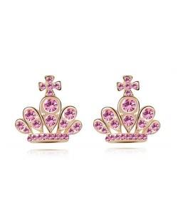 Cross Crown Design Luxurious Austrian Crystal Stud Earrings - Light Rose