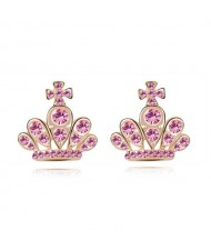 Cross Crown Design Luxurious Austrian Crystal Stud Earrings - Light Rose
