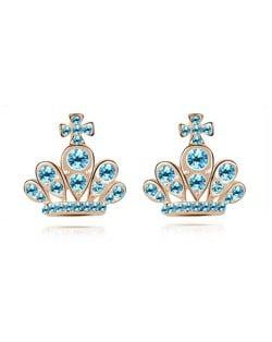Cross Crown Design Luxurious Austrian Crystal Stud Earrings - Aquamarine