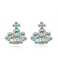 Cross Crown Design Luxurious Austrian Crystal Stud Earrings - Aquamarine