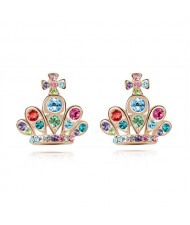 Cross Crown Design Luxurious Austrian Crystal Stud Earrings - Multicolor