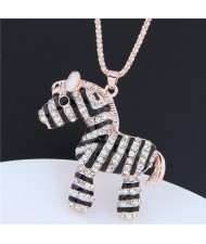 Rhinestone Embellished Zebra Pendant Long Chain Fashion Costume Necklace