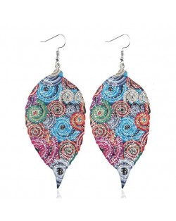 Colorful Printing Vintage Style Leaves High Fashion Statement Earrings