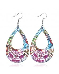 Floral Printing Hollow Style Waterdrop Pendant Fashion Earrings