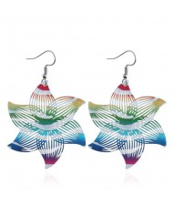 Hollow Printing Flowers High Fashion Women Statement Earrings