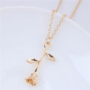Elegant Tulip Pendant Alloy Fashion Costume Necklace - Golden