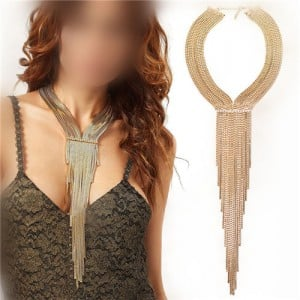 Long Alloy Tassel Chunky Style High Fashion Women Statement Necklace - Golden