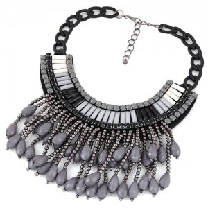 Acrylic Beads Tassel Fashion Chunky Chain Fashion Black Short Costume Necklace