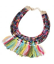 Multicolor High Fashion Cotton Threads Tassel Chunky Short Costume Necklace
