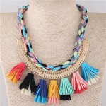 Multicolor Cotton Threads Weaving with Tassels Design Short Fashion Women Statement Necklace