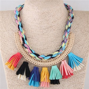 Multicolor Cotton Threads Weaving with Tassels Design Short Fashion Women Statement Necklace