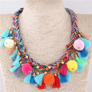 Fluffy Balls and Tassel Decorated Cotton Threads Weaving Fashion Statement Necklace - Multicolor
