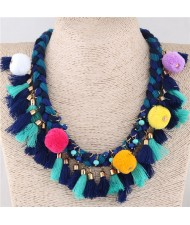Fluffy Balls and Tassel Decorated Cotton Threads Weaving Fashion Statement Necklace - Blue