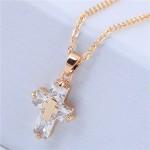Delicate Copper and Cubic Zirconia Glistening Cross Pendant Fashion Costume Necklace - Golden