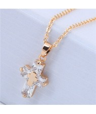 Delicate Copper and Cubic Zirconia Glistening Cross Pendant Fashion Costume Necklace - Golden