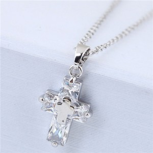 Delicate Copper and Cubic Zirconia Glistening Cross Pendant Fashion Costume Necklace - Silver