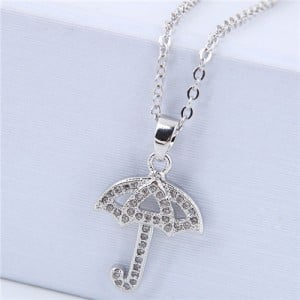 Korean Fashion Cubic Zirconia Inlaid Copper Umbrella Pendant Long Chain Costume Necklace - Silver