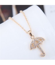 Korean Fashion Cubic Zirconia Inlaid Copper Umbrella Pendant Long Chain Costume Necklace - Golden