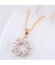 Korean Fashion Cubic Zirconia Inlaid Copper Garland Pendant Long Chain Costume Necklace