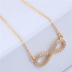 Korean Fashion Cubic Zirconia Inlaid Copper Infinite Symbol Pendant Long Chain Necklace - Golden