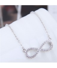Korean Fashion Cubic Zirconia Inlaid Copper Infinite Symbol Pendant Long Chain Necklace - Silver