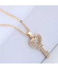 Cubic Zirconia Inlaid Golden Heart Key Pendant Long Chain Fashion Necklace