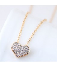Cubic Zirconia Inlaid Golden Heart Pendant Long Chain Fashion Necklace
