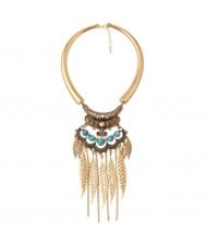 Alloy Leaves Tassel Fashion Resin Gems Decorated Folk Style Statement Necklace - Golden and Blue