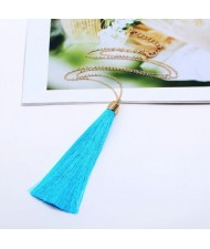 Cotton Threads Tassel High Fashion Long Chain Statement Necklace - Sky Blue
