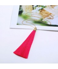 Cotton Threads Tassel High Fashion Long Chain Statement Necklace - Rose