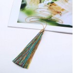 Cotton Threads Tassel High Fashion Long Chain Statement Necklace - Multicolor