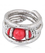 Artificial Turquoise Embellished Triple Layers Chunky Fashion Alloy Bracelet - Red