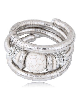 Artificial Turquoise Embellished Triple Layers Chunky Fashion Alloy Bracelet - White