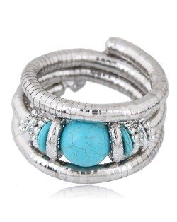 Artificial Turquoise Embellished Triple Layers Chunky Fashion Alloy Bracelet - Blue